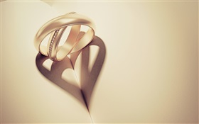 Two rings projection, love heart-shaped HD wallpaper
