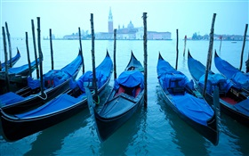 Venetian, boats, cloudy day HD wallpaper