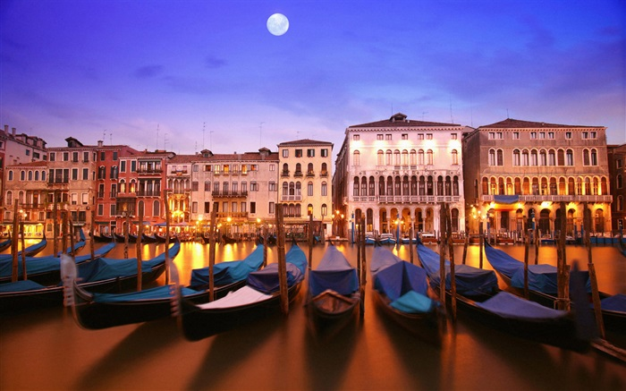Venetian night, boat, house, river, lights, moon Wallpapers Pictures Photos Images
