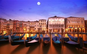 Venetian night, boat, house, river, lights, moon HD wallpaper