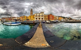 Venice, docks, boats, houses, clouds HD wallpaper