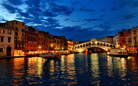 Venice, night, river, houses, lights, bridge HD wallpaper