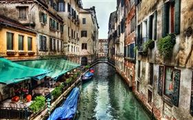 Venice scenery, river, house HD wallpaper