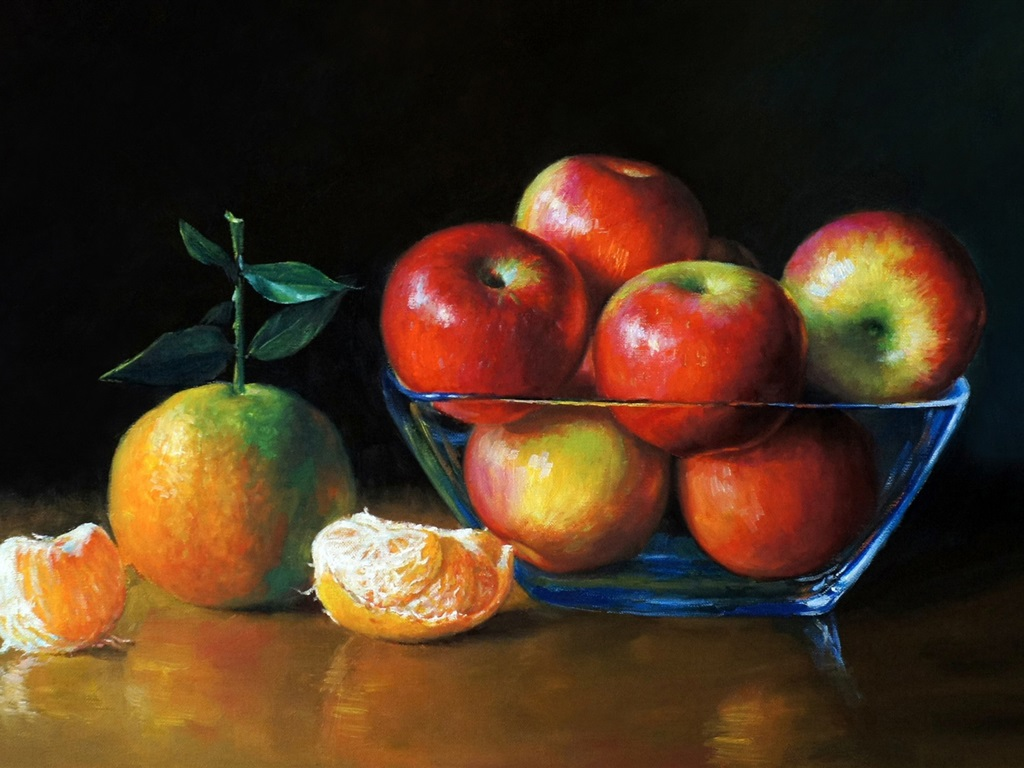 Watercolor painting, apples and oranges 1024x768 wallpaper