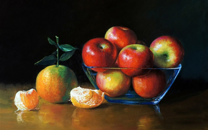 Watercolor painting, apples and oranges Wallpapers Pictures Photos Images