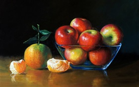 Watercolor painting, apples and oranges HD wallpaper