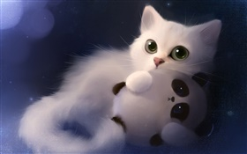 Watercolor painting, cat with toy panda HD wallpaper