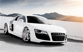 White Audi R8 V10 supercar HD wallpaper