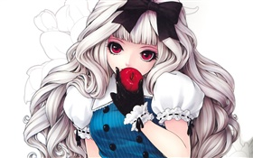 White hair anime girl eating apple HD wallpaper