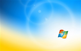 Windows 7 logo, blue orange background HD wallpaper