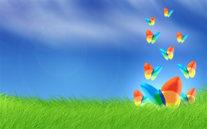 Windows butterfly in grass Wallpapers Pictures Photos Images