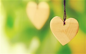 Wooden heart-shaped love HD wallpaper