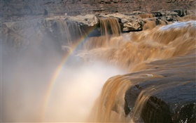 Yellow River, waterfall, rainbow, China HD wallpaper