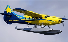 Yellow color amphibian plane HD wallpaper