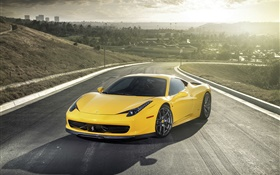 2013 Ferrari 458 Italia yellow supercar HD wallpaper