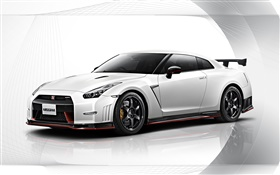 2015 Nissan GT-R Nismo white car side view