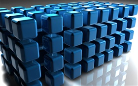 3D blue cube, floor reflection HD wallpaper
