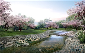 3D design, spring park, flowers in full bloom, creek HD wallpaper