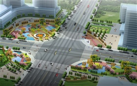 3D design, the layout of urban roads and green HD wallpaper