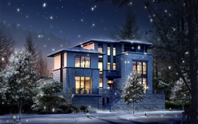 3D design, the villa at night, light, firefly