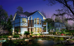 3D design, villas night, lighting, ponds, trees