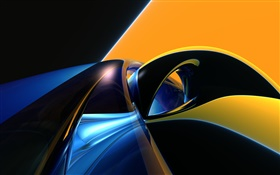 Abstract curve, orange, blue, black HD wallpaper