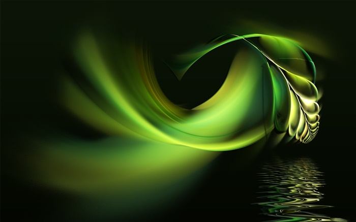 Abstract design, green leaves, water Wallpapers Pictures Photos Images