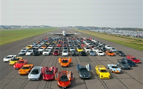 Aircraft, many supercars HD wallpaper