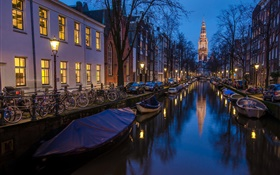 Amsterdam, Holland, night, houses, river, boats, lights HD wallpaper