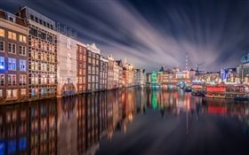 Amsterdam, night, lights, house, river, reflection