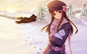 Anime girl in the winter HD wallpaper