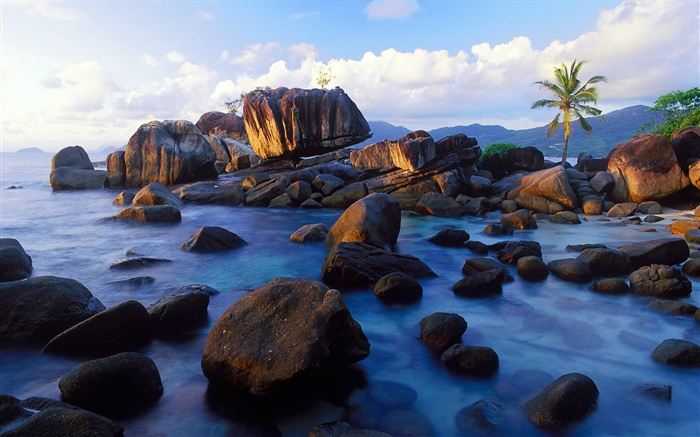 Anse Soleil, Mahe, Seychelles, stones, coast Wallpapers Pictures Photos Images