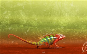Artistic chameleon close-up HD wallpaper