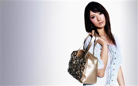 Asian girl, holding a bag HD wallpaper