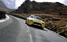 Aston Martin V12 Vantage S yellow supercar front view, speed HD wallpaper