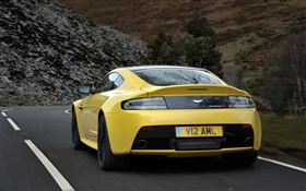 Aston Martin V12 Vantage S yellow supercar rear view