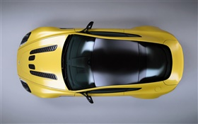 Aston Martin V12 Vantage S yellow supercar top view HD wallpaper