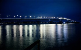 Auckland Harbour Bridge, night, lights, New Zealand HD wallpaper