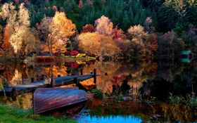 Autumn, trees, pier, boat, lake, water reflection HD wallpaper
