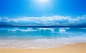 Beautiful beach, sea, waves, blue, sky, clouds HD wallpaper