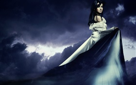 Beautiful girl in the dusk, long dress HD wallpaper