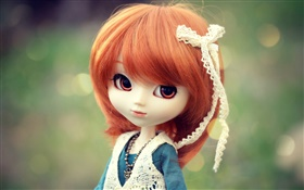 Beautiful red hair toy girl, doll HD wallpaper