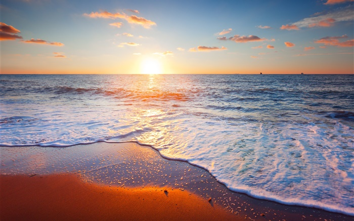 Beautiful sunset, sea, coast, sky, clouds, sand Wallpapers Pictures Photos Images