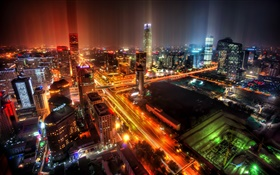 Beijing, China, city, night, lights, skyscrapers HD wallpaper