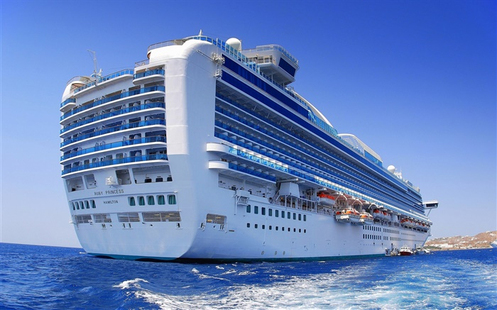 Big cruise ship, ocean, blue Wallpapers Pictures Photos Images