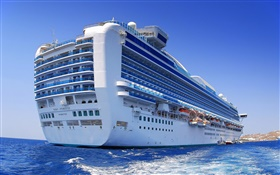 Big cruise ship, ocean, blue HD wallpaper