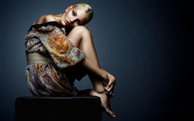 Blonde girl, fashion dress, sit down HD wallpaper