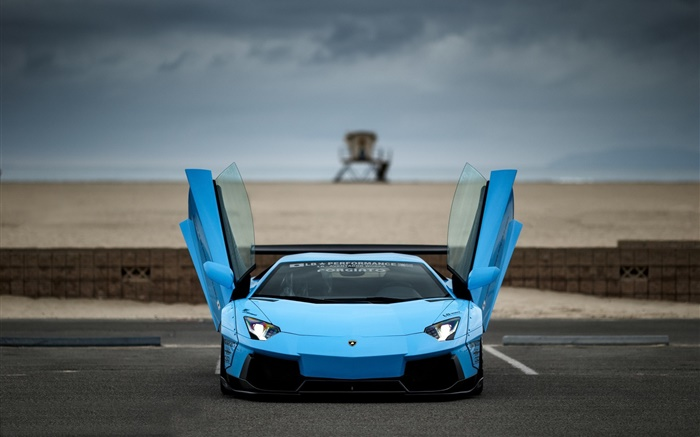 Blue Lamborghini Aventador supercar front view, wings Wallpapers Pictures Photos Images