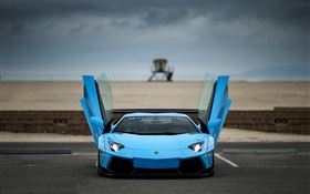 Blue Lamborghini Aventador supercar front view, wings