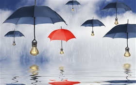 Blue and red umbrellas, rain, water reflection, creative pictures HD wallpaper
